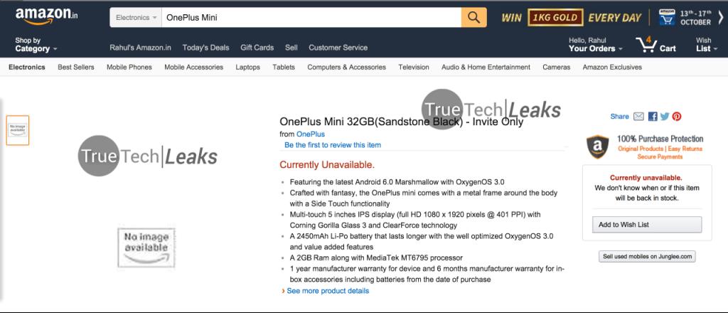 OnePlus X leak Amazon