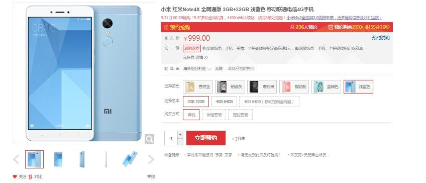 Redmi Note 4X v modré variantě