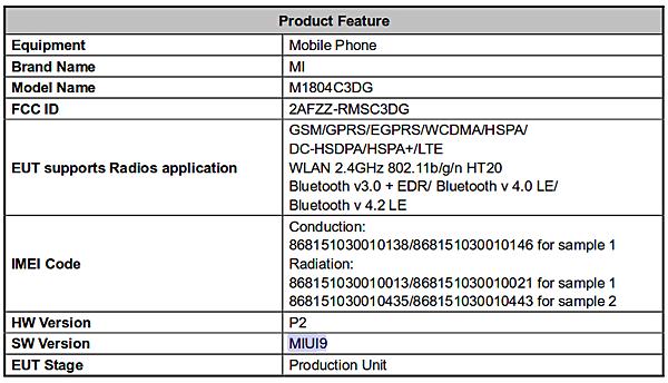 Xiaomi M1804C3CG