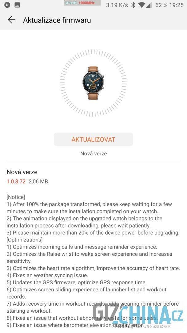 aktualizace FW Huawei Watch GT