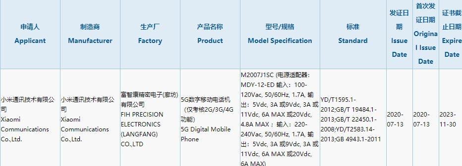 Xiaomi 5G telefon